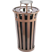 Oakley 24 Gallon Slatted Steel Receptacle w/Ash Top, Brown - M2401-AT-BN