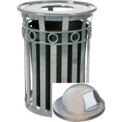 Oakley 36 Gallon Decorative Slatted Steel Receptacle w/Dome Top, Silver - M3600-R-DT-SLV