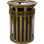 Oakley 36 Gallon Decorative Slatted Steel Receptacle w/Flat Top, Brown - M3600-R-FT-BN
