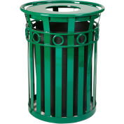Oakley 36 Gallon Decorative Slatted Steel Receptacle w/Flat Top, Green - M3600-R-FT-GN