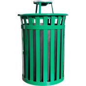 Oakley 50 Gallon Slatted Steel Receptacle w/Ash Top, Green - M5001-AT-GN