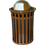 Oakley 50 Gallon Slatted Steel Receptacle w/Dome Top, Brown - M5001-DT-BN