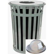 Oakley 50 Gallon Slatted Steel Receptacle w/Dome Top, Silver - M5001-DT-SLV