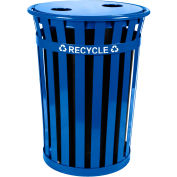 Oakley 36 Gallon Slatted Steel Recycling Container w/2 Hole Opening Flat Top, Blue - MR36-FTR-BL