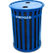 Oakley 50 Gallon Slatted Steel Recycling Container w/2 Hole Opening Flat Top, Blue - MR50-FTR-BL