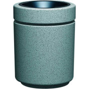 Poly-Lite Crete Round 27 Gallon Top Load Receptacle, Graystone - RLC-2034T-GR