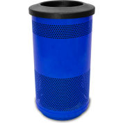 Stadium Series® 35 Gallon Receptacle w/Flat Top Lid, Blue Streak II - SC35-01-BS-FT