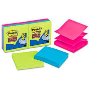 Pop-Up Notes, Super Sticky, 3 x 3, Assorted Ultra Colors, 6/PK