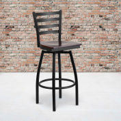 Flash Furniture Black Ladder Back Swivel Metal Barstool - Walnut Wood Seat - HERCULES Series