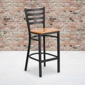 Flash Furniture Black Ladder Back Metal Restaurant Barstool - Natural Wood Seat - HERCULES Series