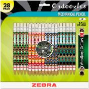 Zebra Cadoozles Mechanical Pencil, Refillable, #2, Assorted Barrels, 0.7 mm, 28/Pack