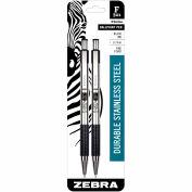 Zebra Retractable Ballpoint Pen F-301 - Black Ink - Stainless Steel Barrel - 2 Pack