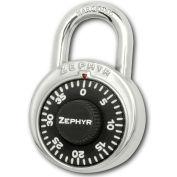 "Zephyr 1902 Combination Padlock 13/16"" Shackle No Control Key Access - Black Dial"