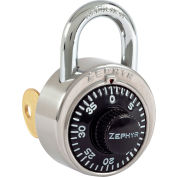 """Zephyr 1925 Combination Padlock 13/16"""" Shackle with Control Key Option - Black Dial"""