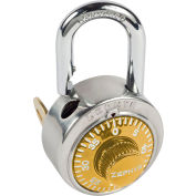 """Zephyr 1925GLD Combination Padlock 13/16"""" Shackle with Control Key Option - Gold Dial"""