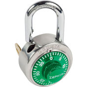 """Zephyr 1925GRN Combination Padlock 13/16"""" Shackle with Control Key Option - Green Dial"""
