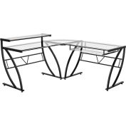 "Z-Line Belaire Glass ""L"" Desk, 60""W x 60""D x 37""H, Clear/Black"