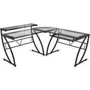 "Z-Line Feliz Glass ""L"" Desk, 60""W x 24""D x 37""H, Clear/Black"