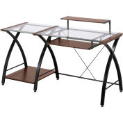 "Z-Line Brisa Desk, 61""W x 24""D x 36""H, Clear/Cherry"
