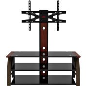 """Z-Line Paris Flat Panel 3 in 1 Television Mounting System, 44""""W x 21""""D x 50""""H, Mahogany/Black"""