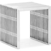 "Zuo Modern Novel Single Bench, 16-1/2""H, Steel Frame, Stainless Steel"