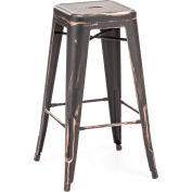 "Zuo Modern Marius Bar Chair, 29-5/16""H, Steel Frame, Antique Black Gold - Pkg Qty 2"