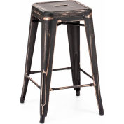"Zuo Modern Marius Counter Stool, 25-11/16""H, Steel Frame, Antique Black Gold - Pkg Qty 2"
