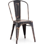 "Zuo Modern Elio Chair, 33-3/8""H, Steel Frame, Antique Black Gold - Pkg Qty 2"
