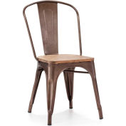 "Zuo Modern Elio Chair, 33-3/8""H, Steel Frame, Rustic Wood - Pkg Qty 2"