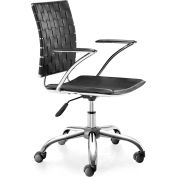 "Zuo Modern Criss Cross Office Chair, 30-35""H, Chromed Steel Frame, Black"