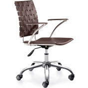 "Zuo Modern Criss Cross Office Chair, 30-35""H, Chromed Steel Frame, Espresso"