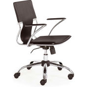 "Zuo Modern Trafico Office Chair, 33-37""H, Chromed Steel Frame, Espresso"