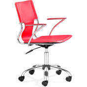 "Zuo Modern Trafico Office Chair, 33-37""H, Chromed Steel Frame, Red"