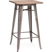 """Zuo Modern Titus Table, 41-11/16""""H, Elm Wood Top, Steel Frame, Rustic Wood"""