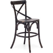 "Zuo Modern Union Square Counter Chair, 38-7/8""H, Elm Wood Frame, Black"