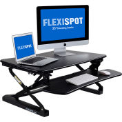 FlexiSpot Adjustable Sit-Stand Desktop Riser Workstation, Removable Keyboard Tray, Black