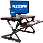 "FlexiSpot M2RW 35"" Height Adjustable Sit-Stand Desk Workstation - Deep Keyboard Tray - River Walnut"