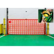 """US Netting Bollard Safety Net, 4'L x 30'W Net, Fits 5-5/8""""- 6-5/8"""" Dia. Bollard, BRSN-430-7"""