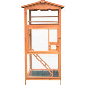 Hanover Outdoor Wooden Bird Cage with 3 Resting Bars, Ladder, Waterproof Roof and Removable Tray