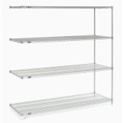 "Nexelate® Silver Epoxy Wire Shelving Add-On 72""W x 24""D x 74""H"