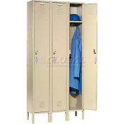 Global Industrial™ Capital® Locker Single Tier 12x18x72 3 Door Ready To Assemble Tan