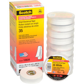 "3M Scotch® Vinyl Electrical Color Coding Tape 35-White, 3/4"" X 66', 80610833982 - Pkg Qty 10"