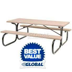 Plastic/Recycled Plastic Picnic Table With Steel Frame - Rectangular, Round, Square & Hexagon