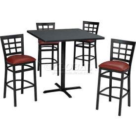 Premier Hospitality Furniture - Bar Height Café Table & Window Pane Back Barstools Set