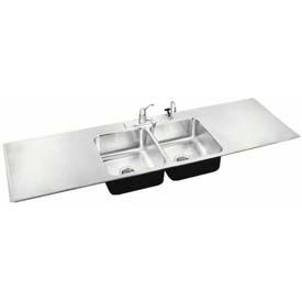 Just Manufacturing Double Bowl Drop-In Sinks W/Drainboards
