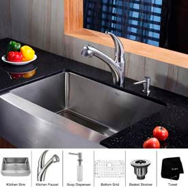Kraus Farmhouse Sinks With Faucets & Soap Dispensors