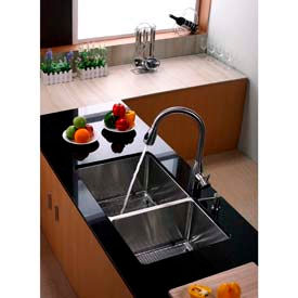 Kraus Undermount Double Compartment Sinks With Faucets & Soap Dispensers