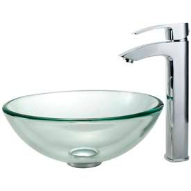 Kraus Round Glass Vessel Sinks With Faucets