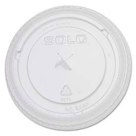 SOLO® Cup Company PETE Plastic Flat Straw-Slot Cold Cup Lids