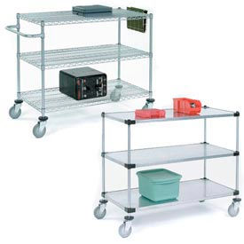 Adjustable Chrome Wire or Solid Galvanized Shelf Utility Carts